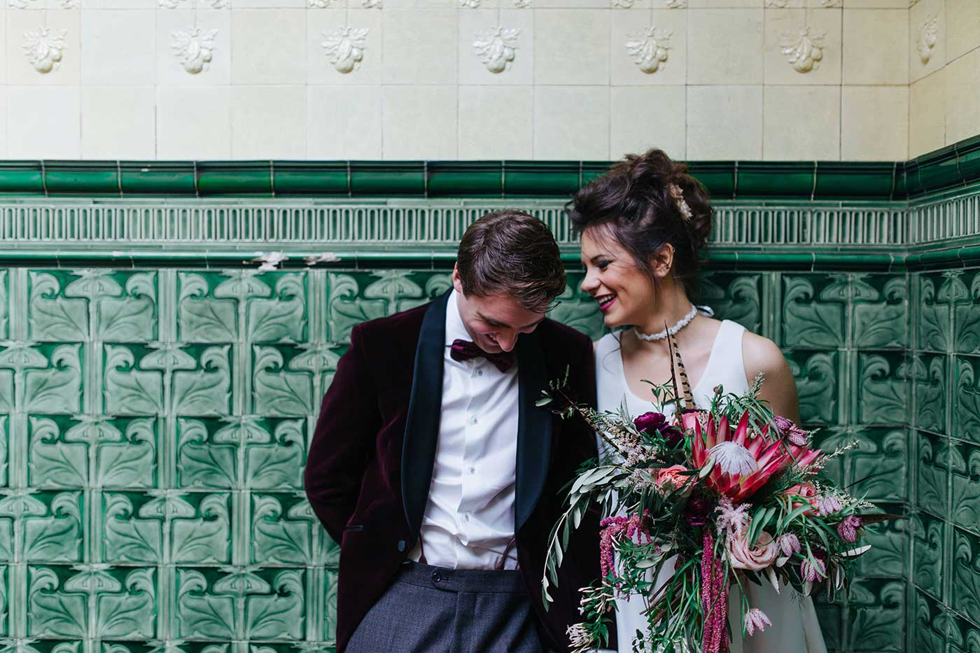 Bride and groom portrait at victoria baths in manchester