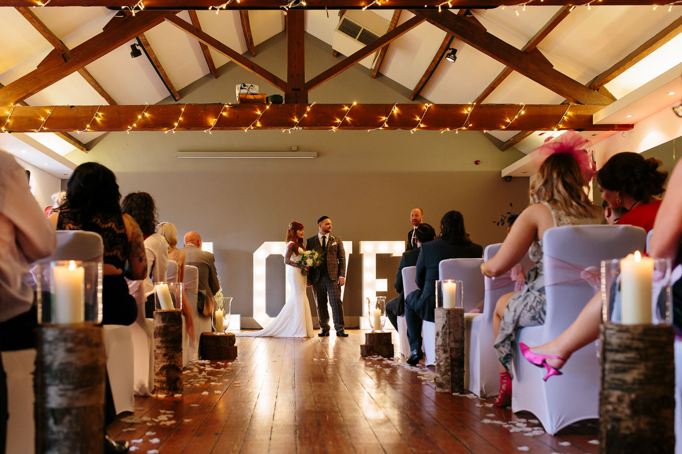 wide shot of the castlefield rooms wedding venue