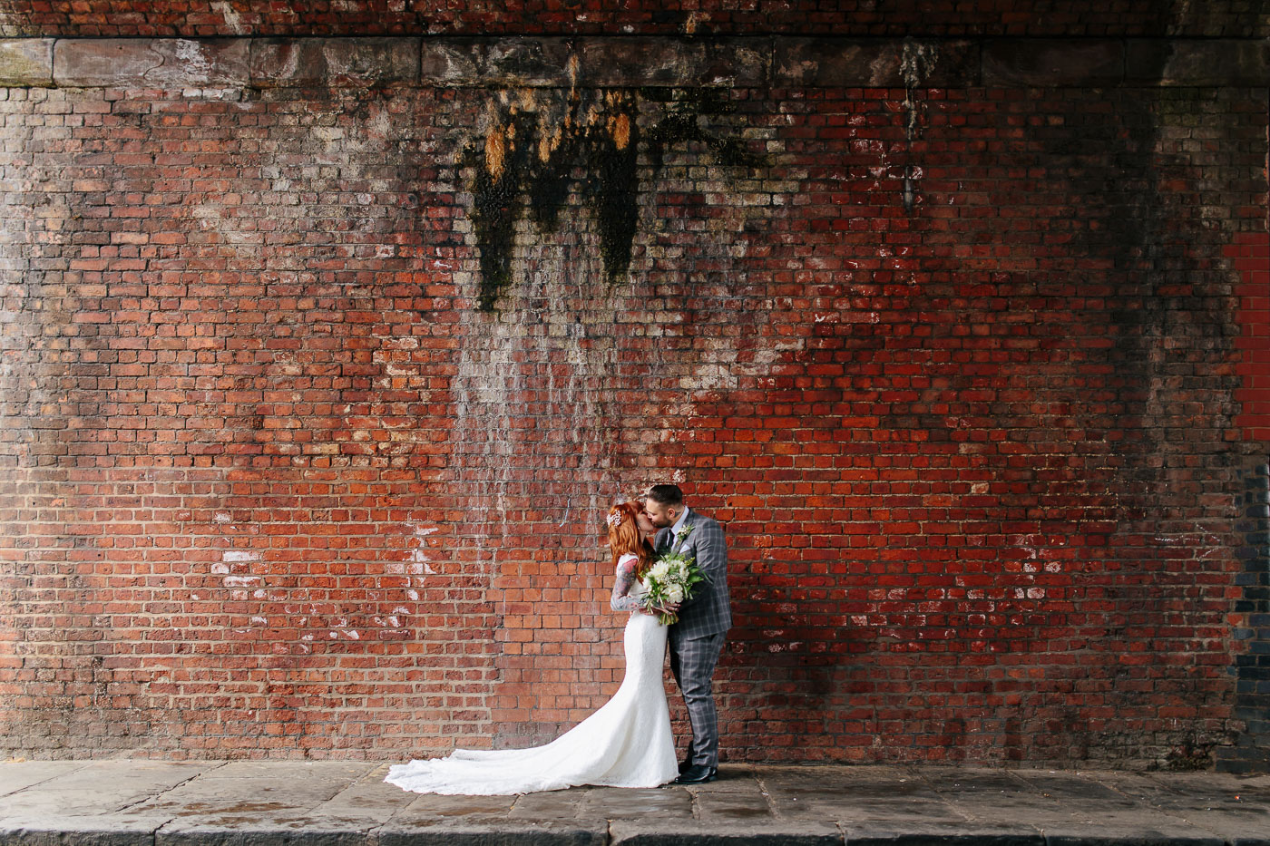 wedding photography portraits in Castlefield Manchester