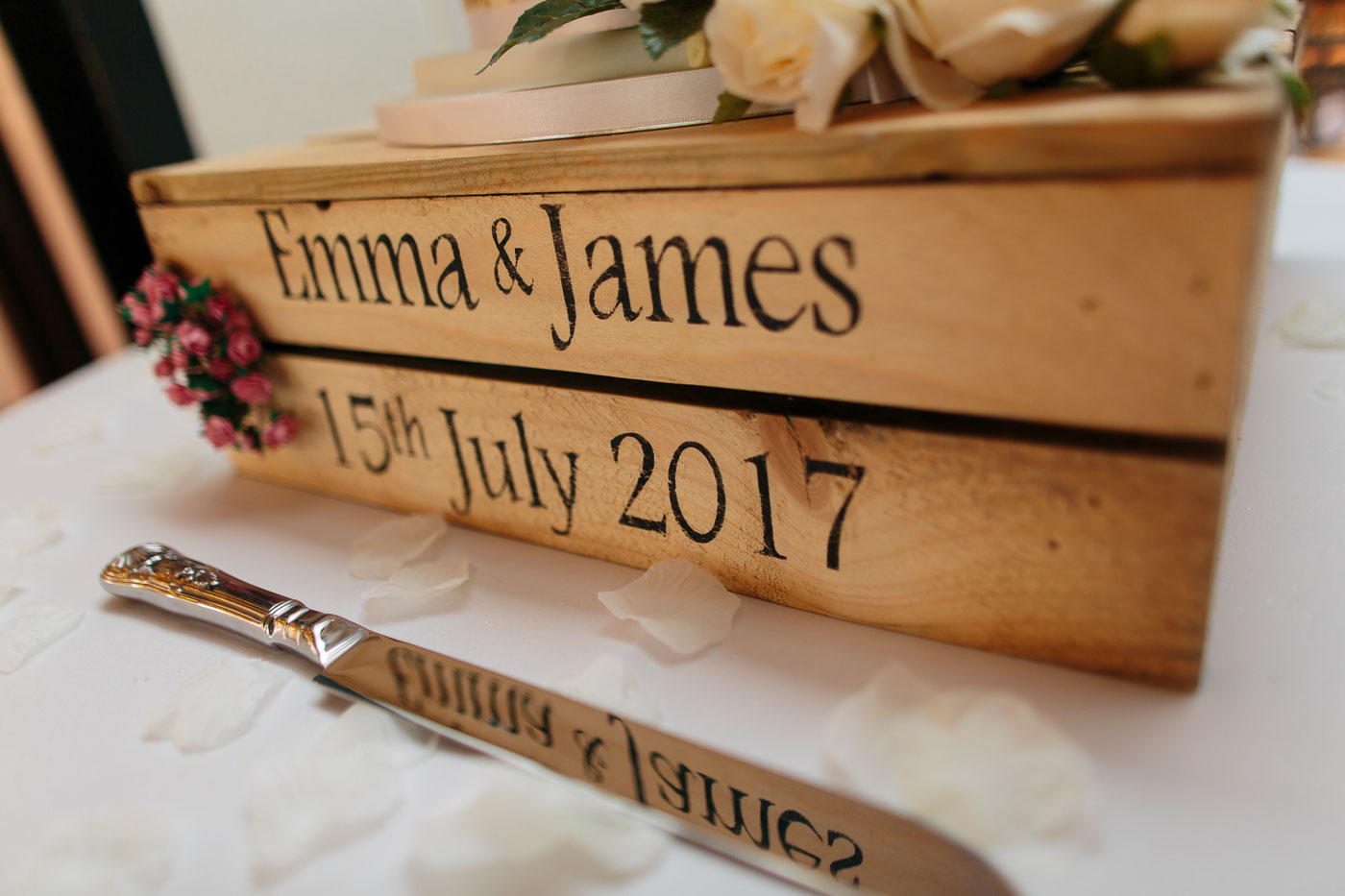 personalised vintage wedding cake stand crate