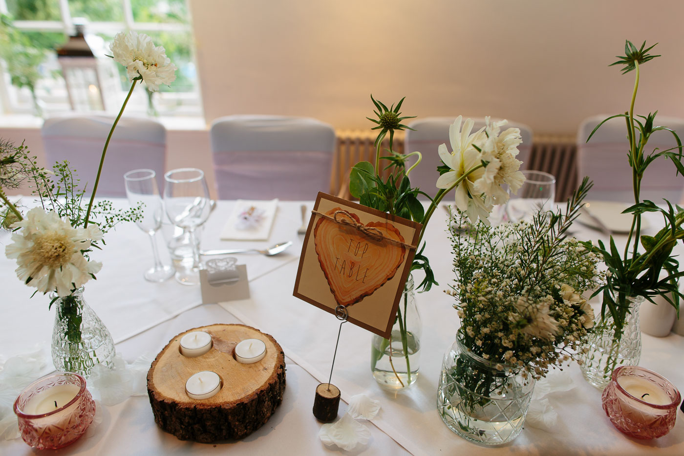 Rustic wedding table details