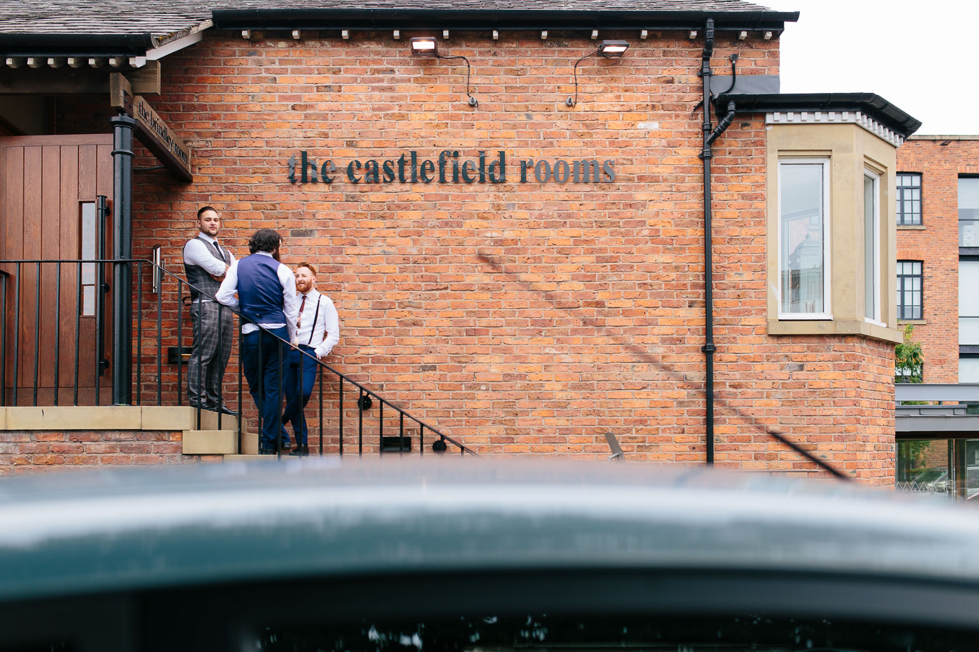 Guests just outside of the castlefield rooms wedding venue