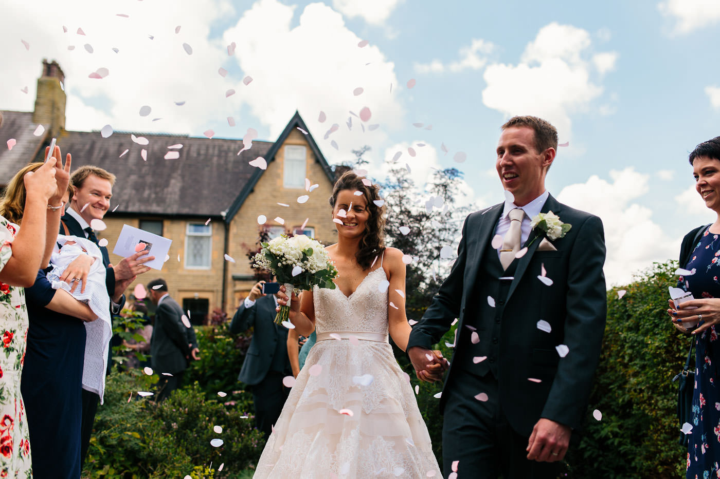 confetti outside the church wedding photographer