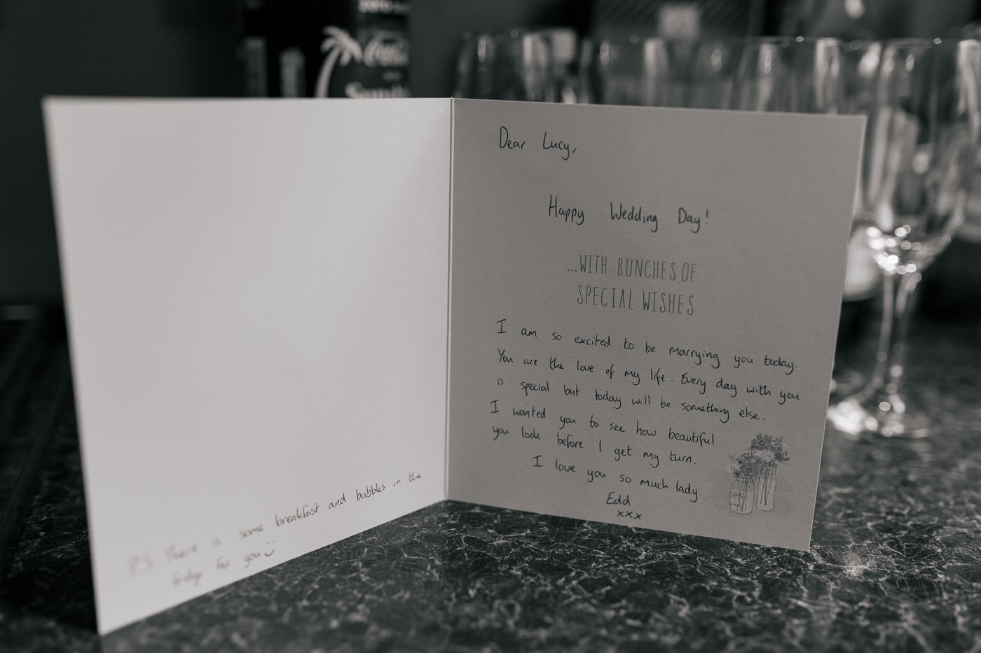 handwritten wedding card from the groom