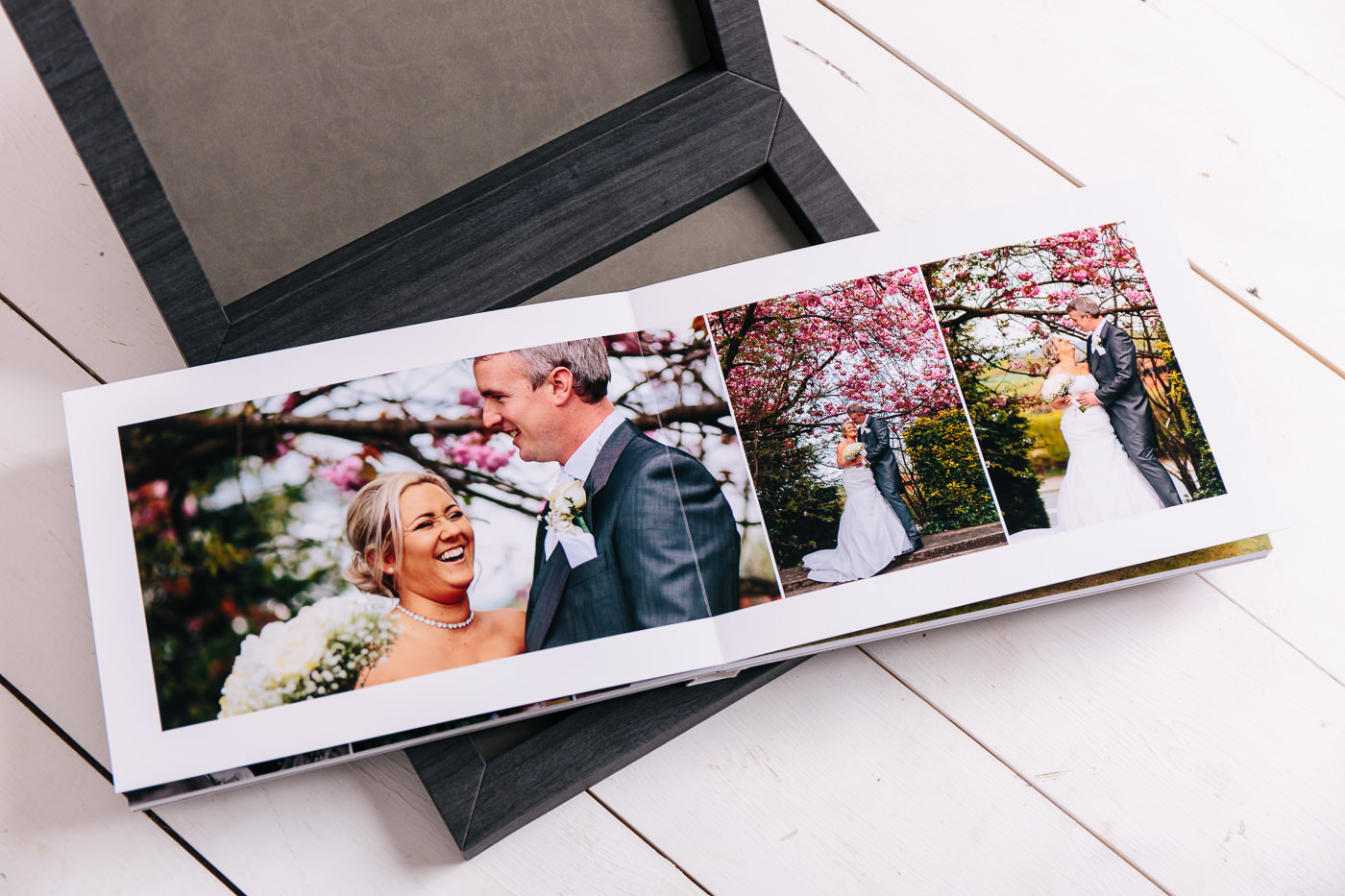 open layflat wedding album pages