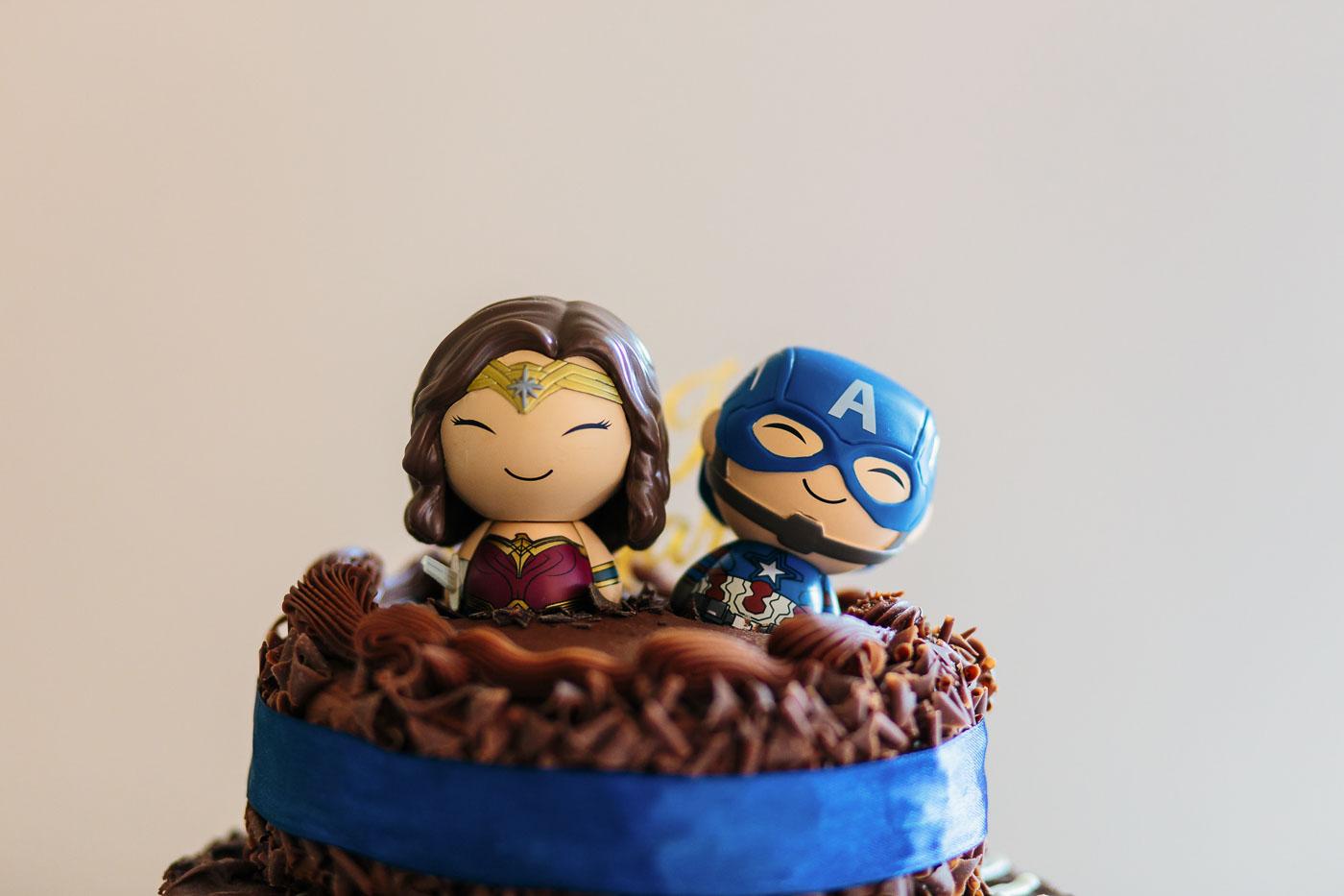 super hero themed wedding cake