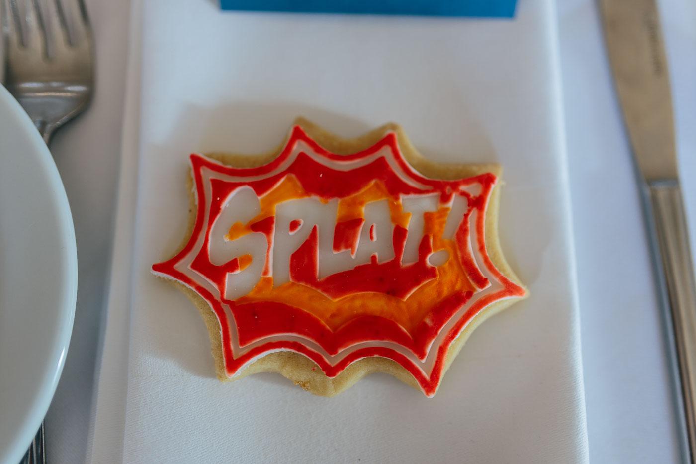 super hero wedding favour biscuits