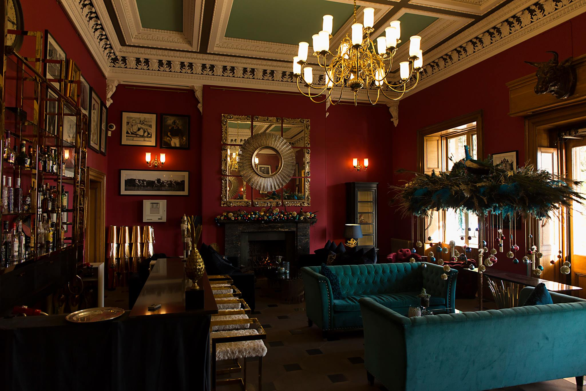 Full view of the entrance room with open fire
