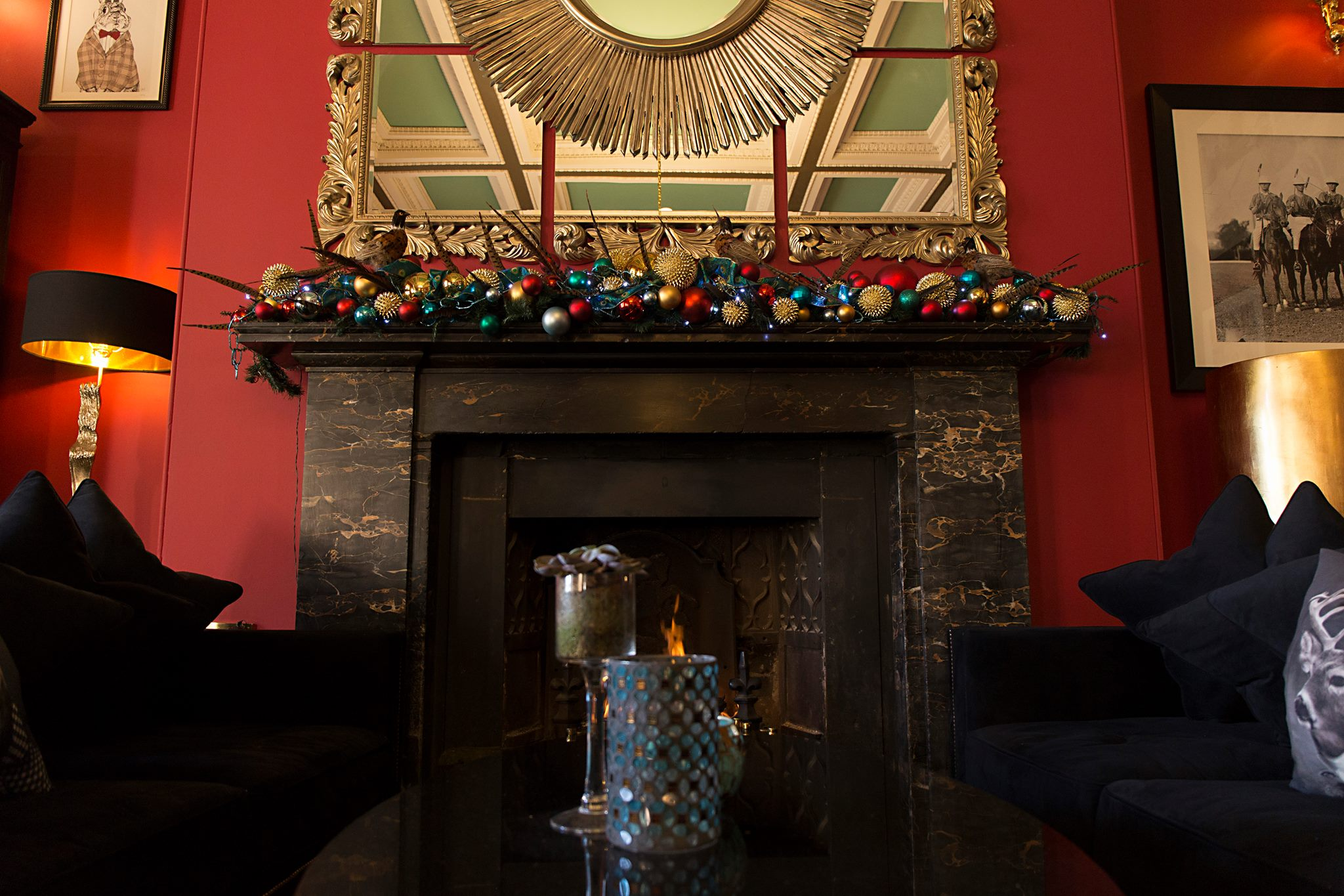 Open fireplace at Haigh Hall