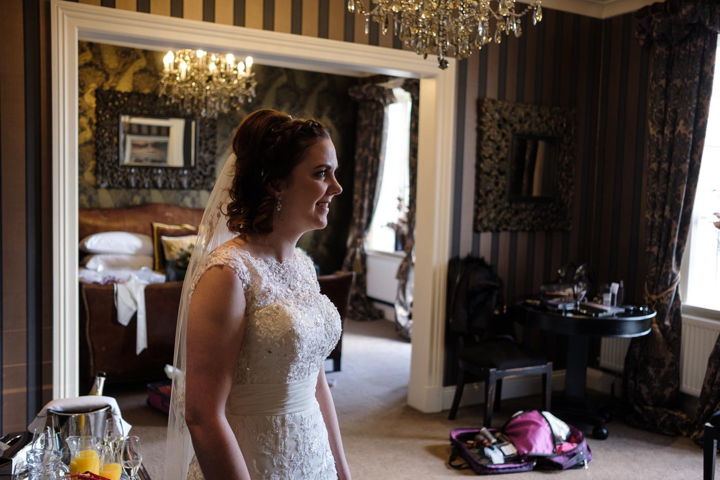bride ready in the bridal suite