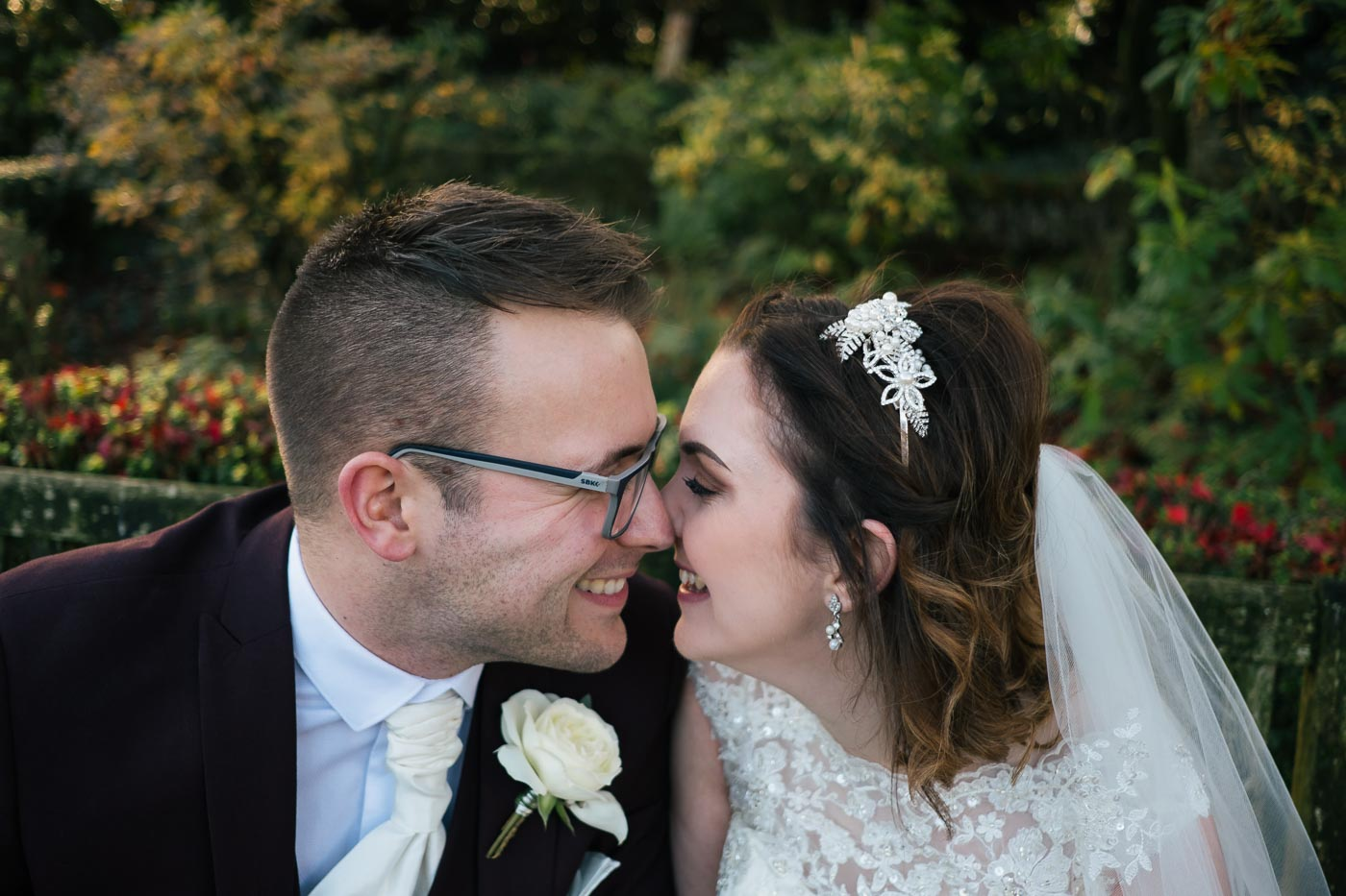 close up bride and groom photograph