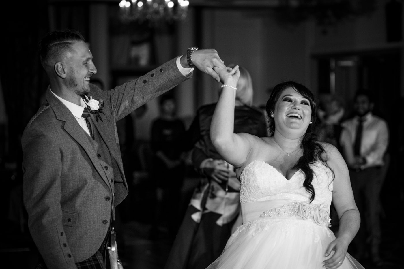 black and white image of the first dance, ardoe house wedding photographers