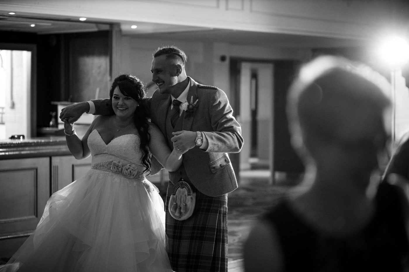 bride and groom dancing, first dance at ardoe house