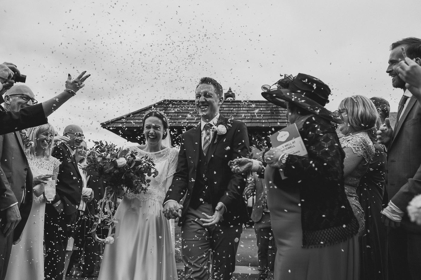 Black and white wedding confetti shot, Ribble valley weddings