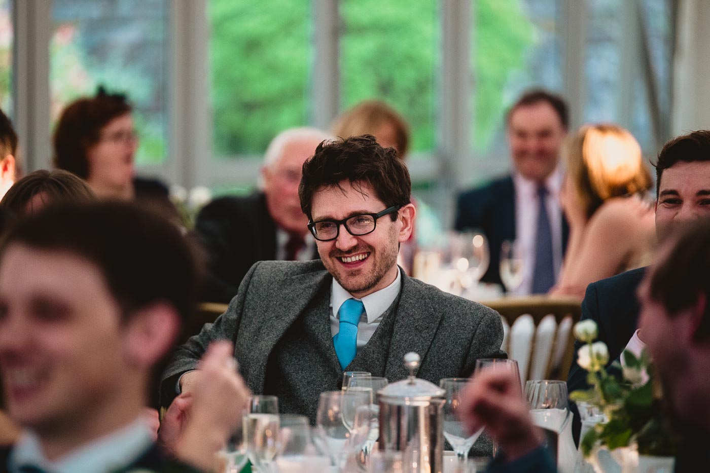 Wedding guest in stylish suit and blue tie, Lancashire wedding photography