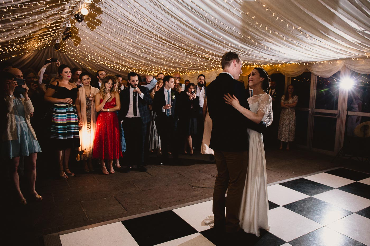 First dance with bride and groom, Inn at Whitewell Wedding in Lancashire