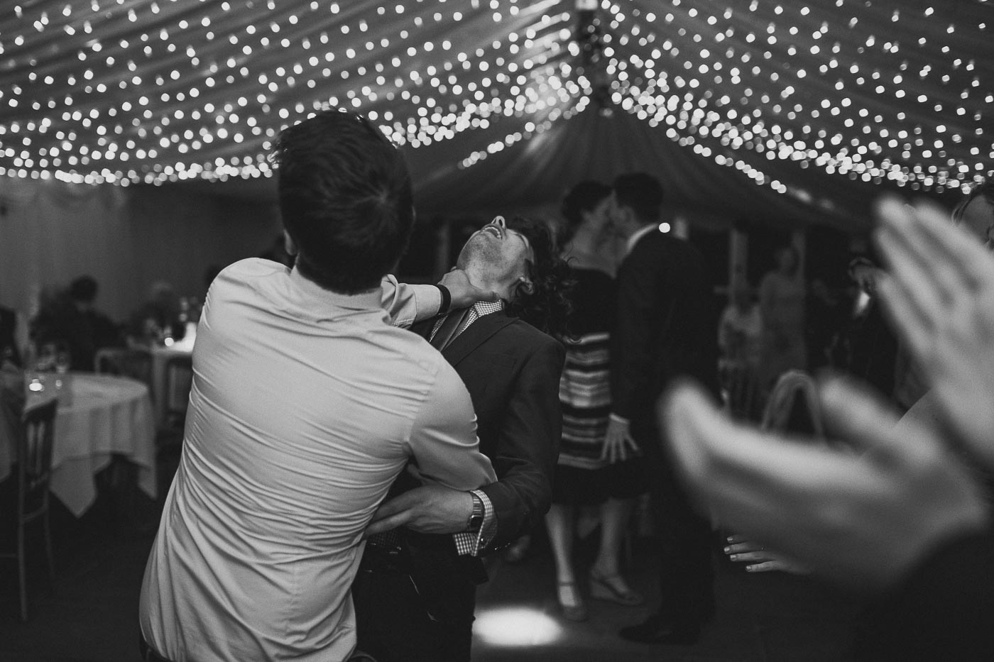 Wedding guests letting there hair down on the dance floor