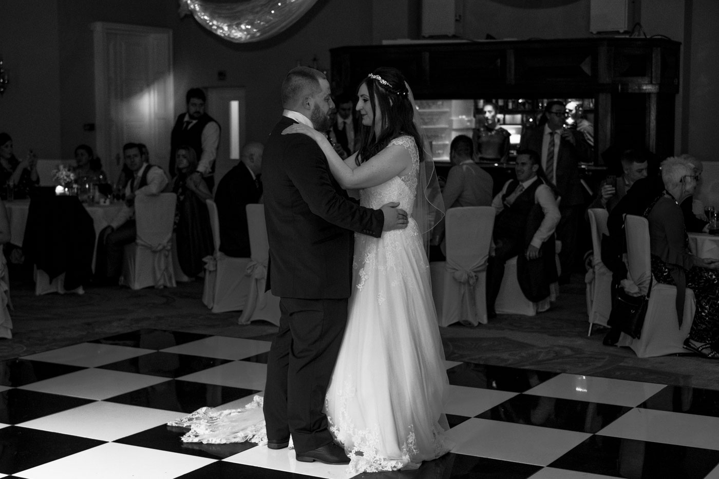 bride and groom first dance at statham lodge hotel