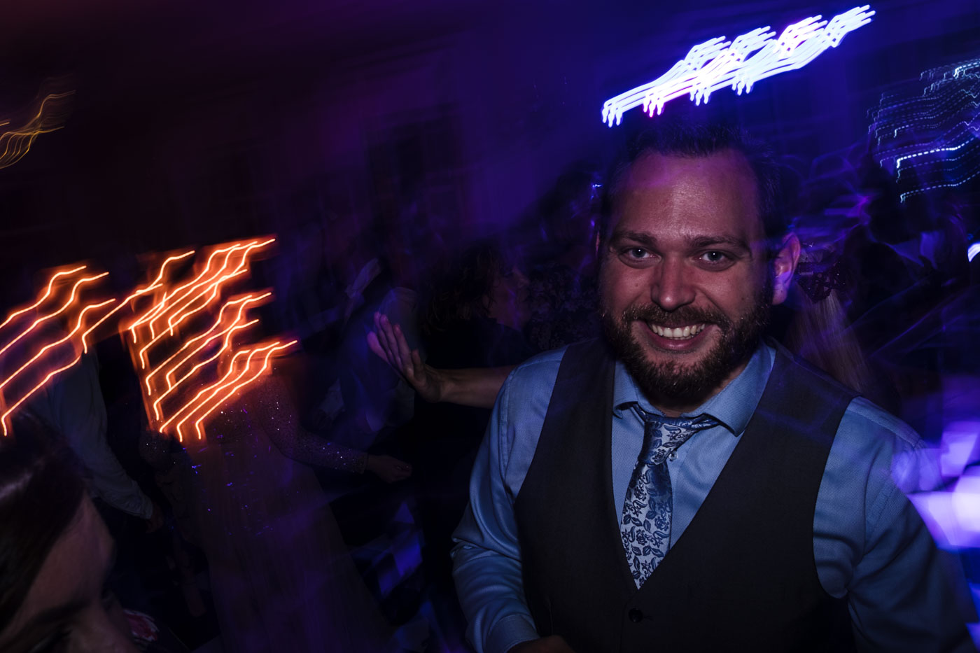 night time photographs of wedding guests at hotel