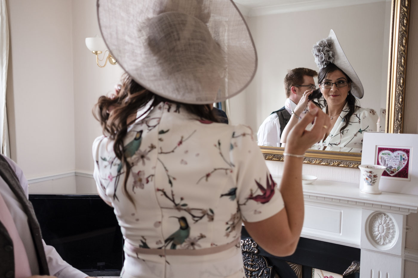 getting ready in the large mirror