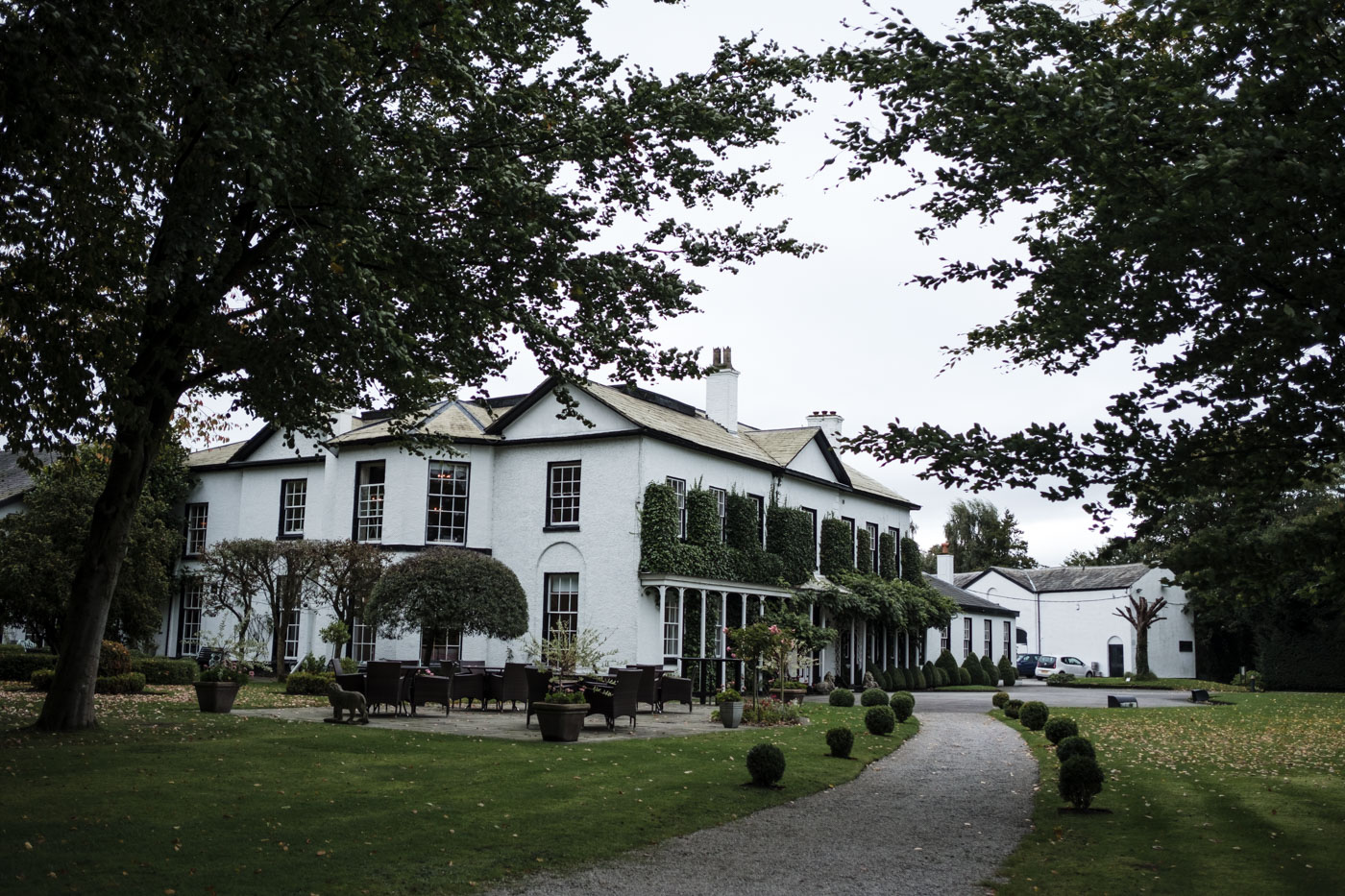view of statham lodge hotel from the gardens