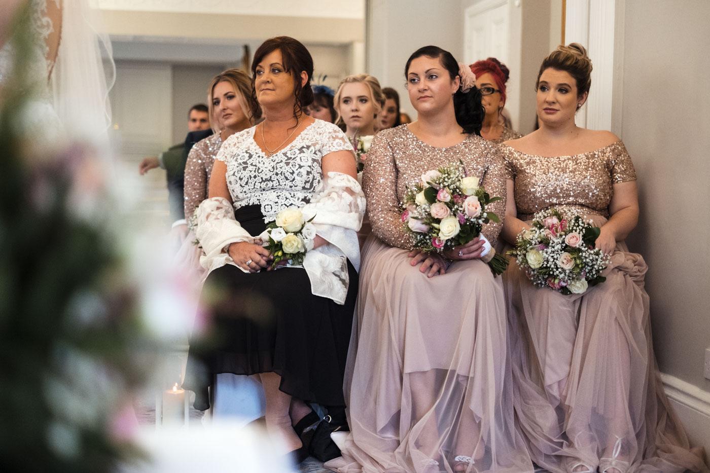 bridesmaids sat down at the wedding