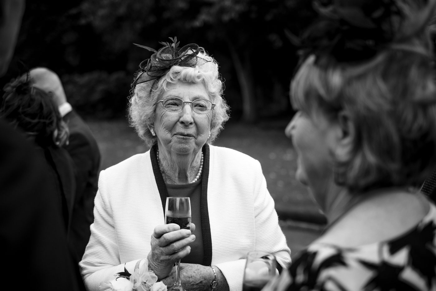 black and white photograph at wedding