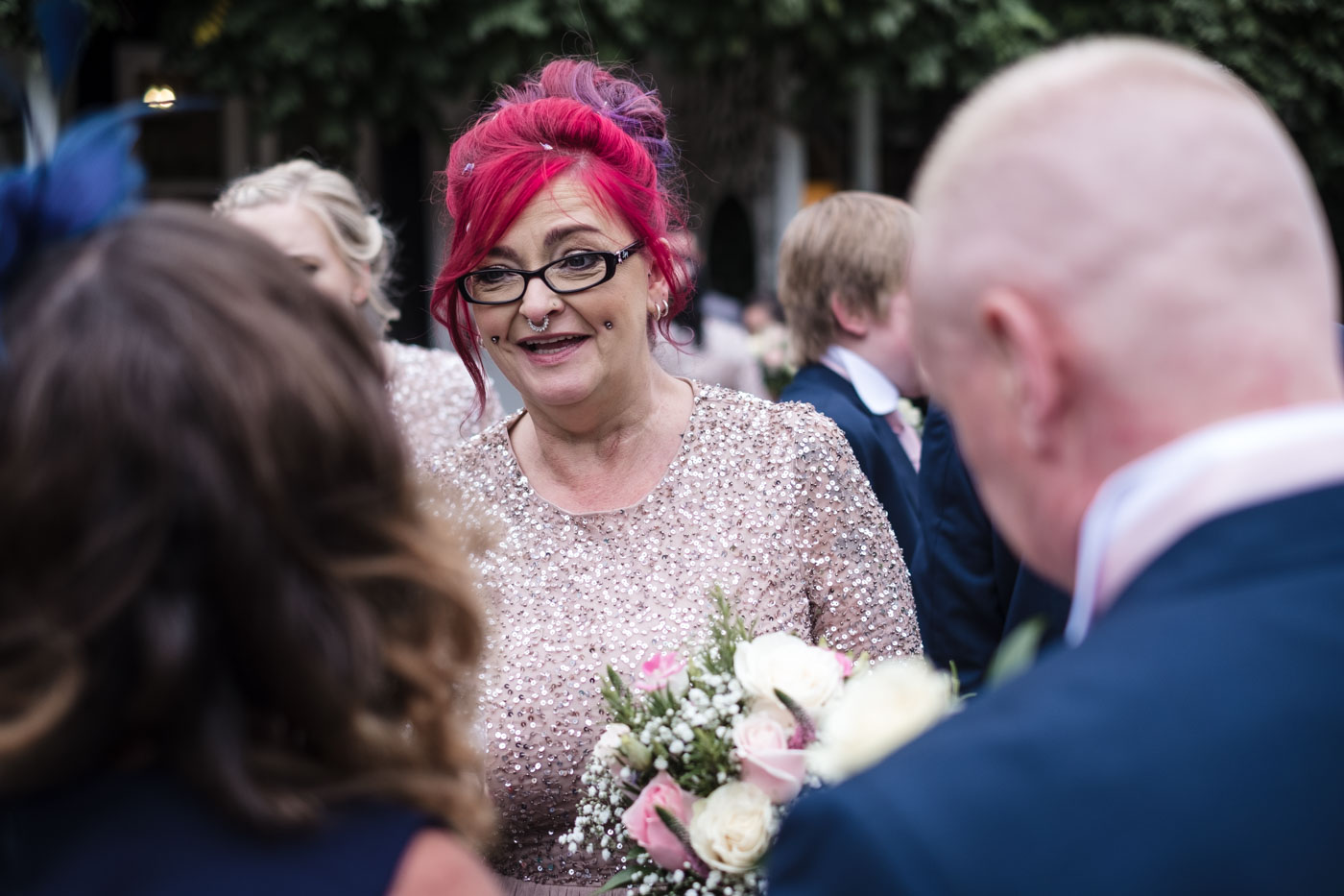country house wedding with pink glitter dresses