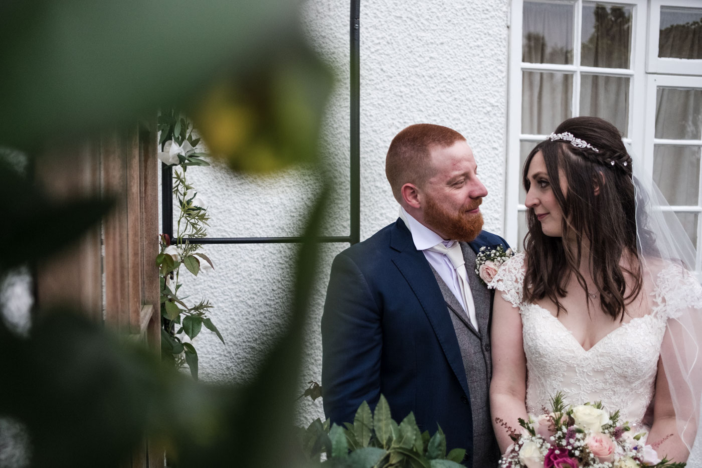 fun country house wedding photography, bride and groom portrait