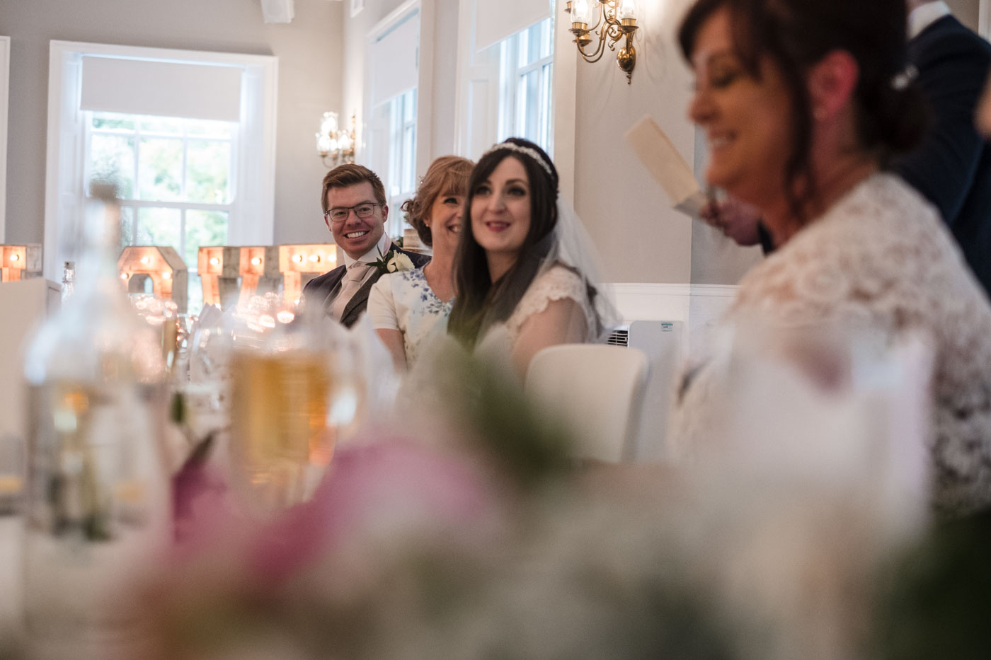 top table reactions to the grooms speech