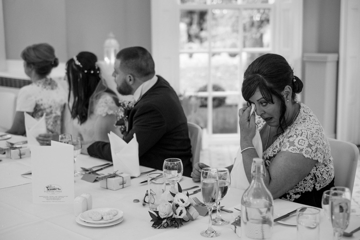 mother of the groom getting emotional during wedding speech