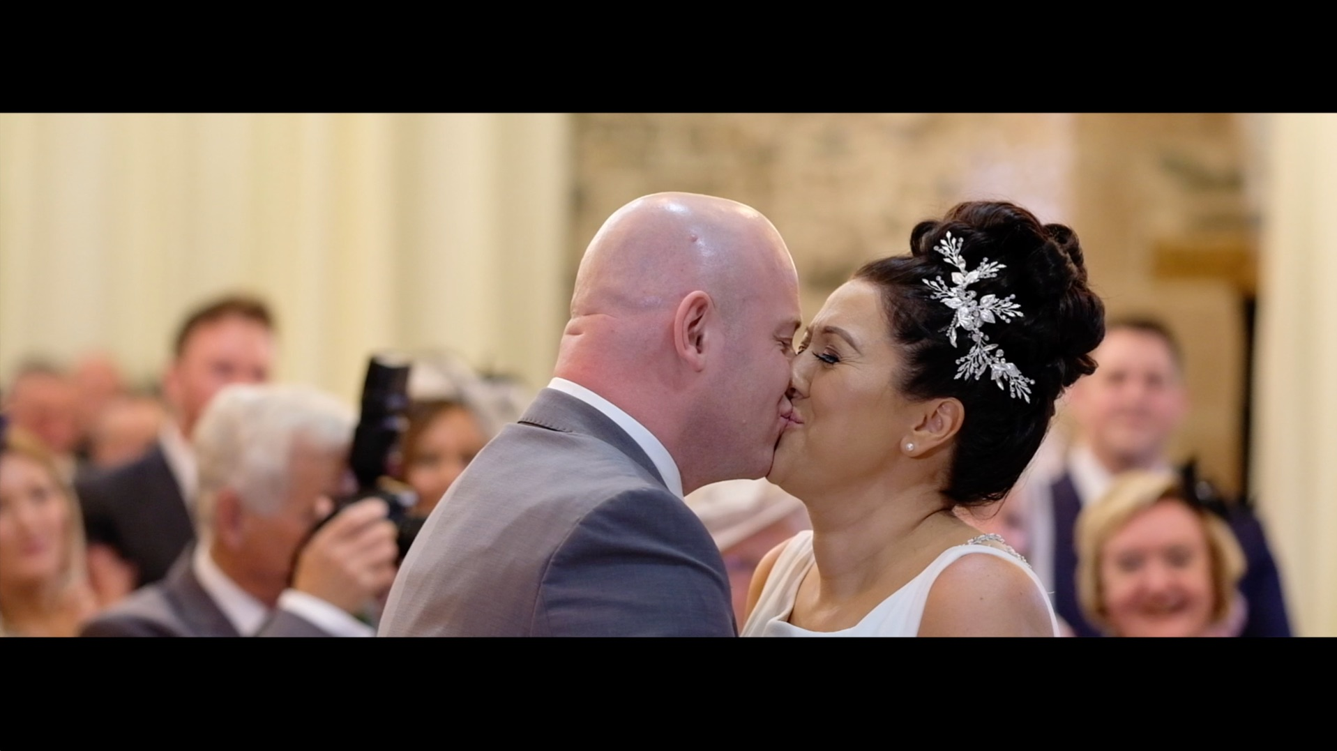 Bride and Groom's first kiss after the wedding ceremony is complete