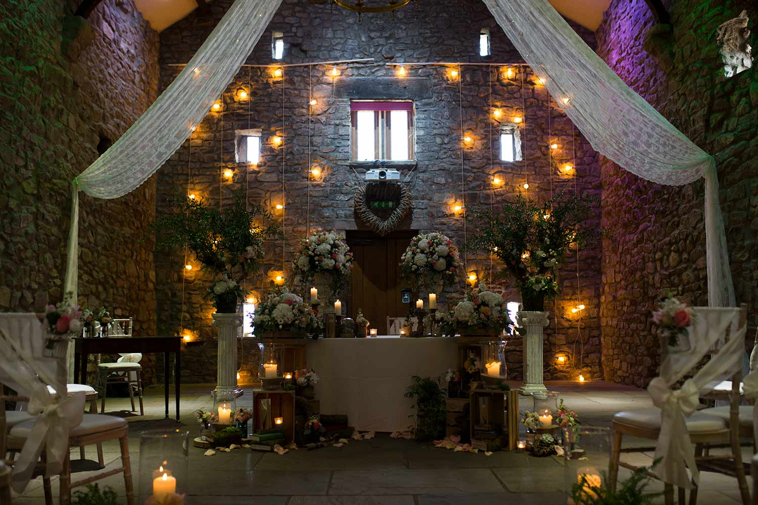 Inside Browsholme Hall Tithe Barn Wedding Venue