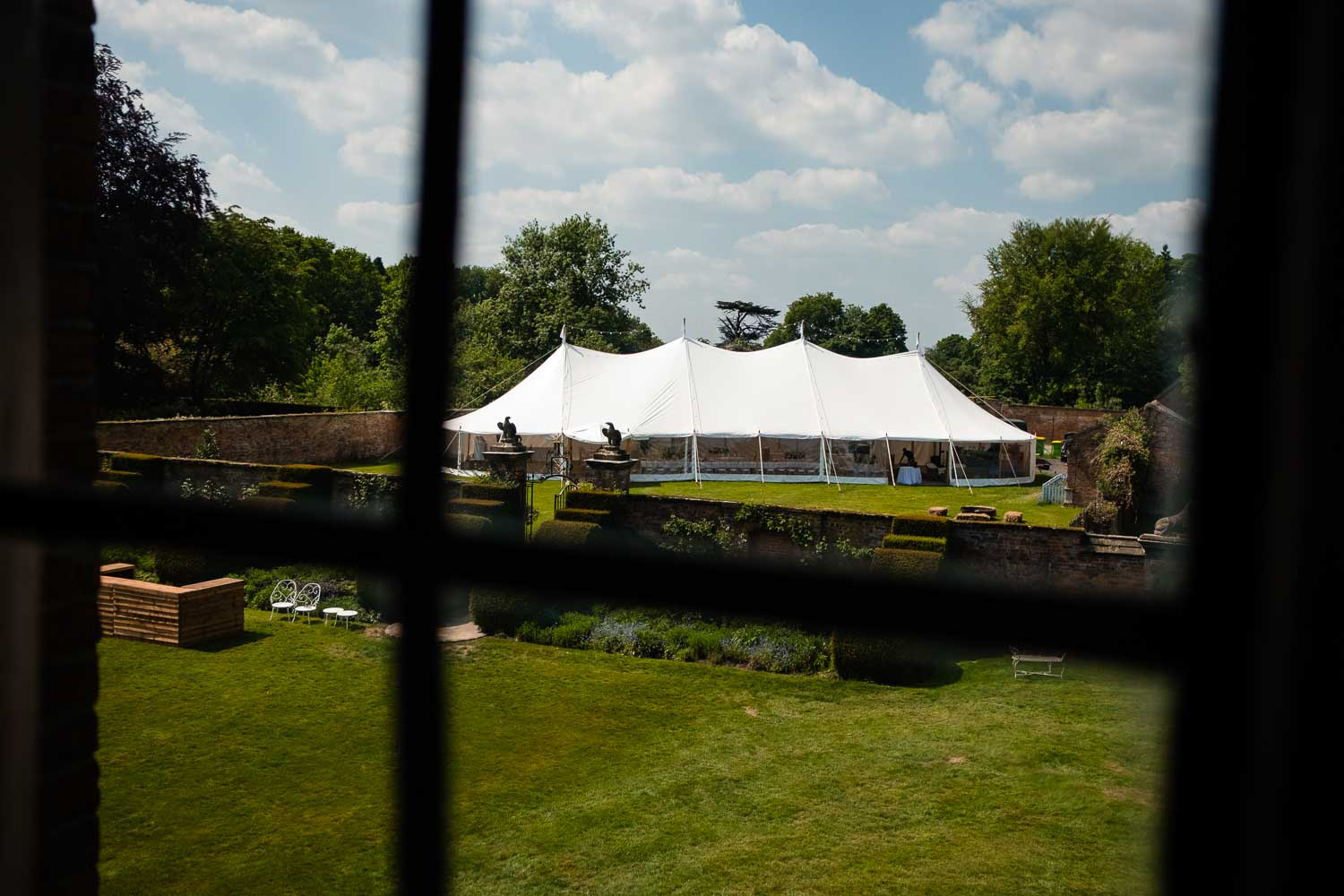 marquee in the walled gardens from the bedroom