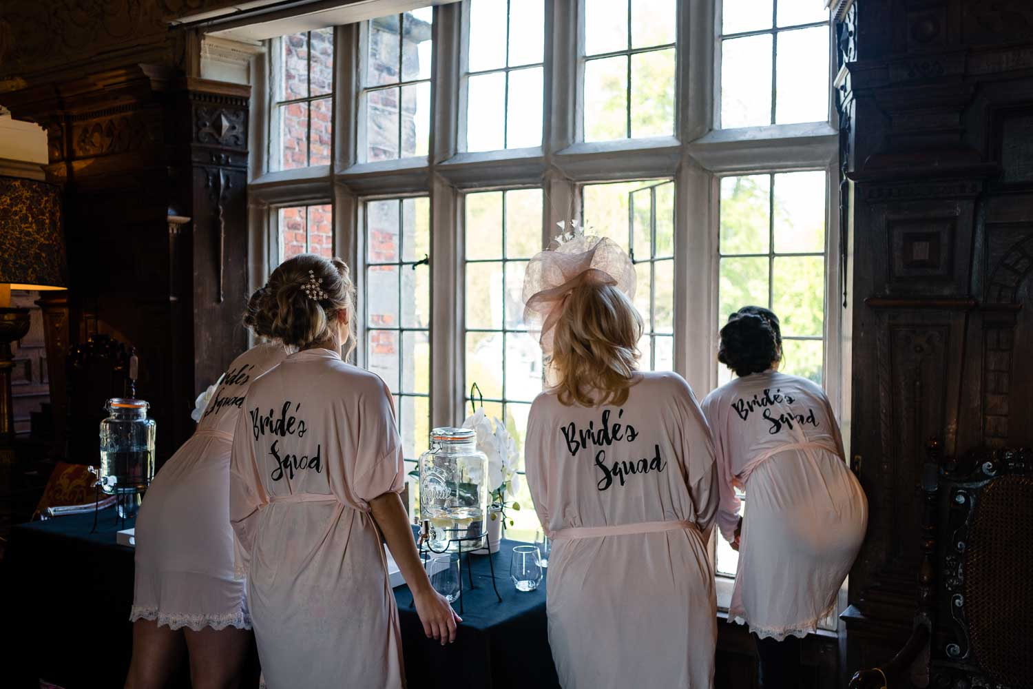 bridal party looking out the window