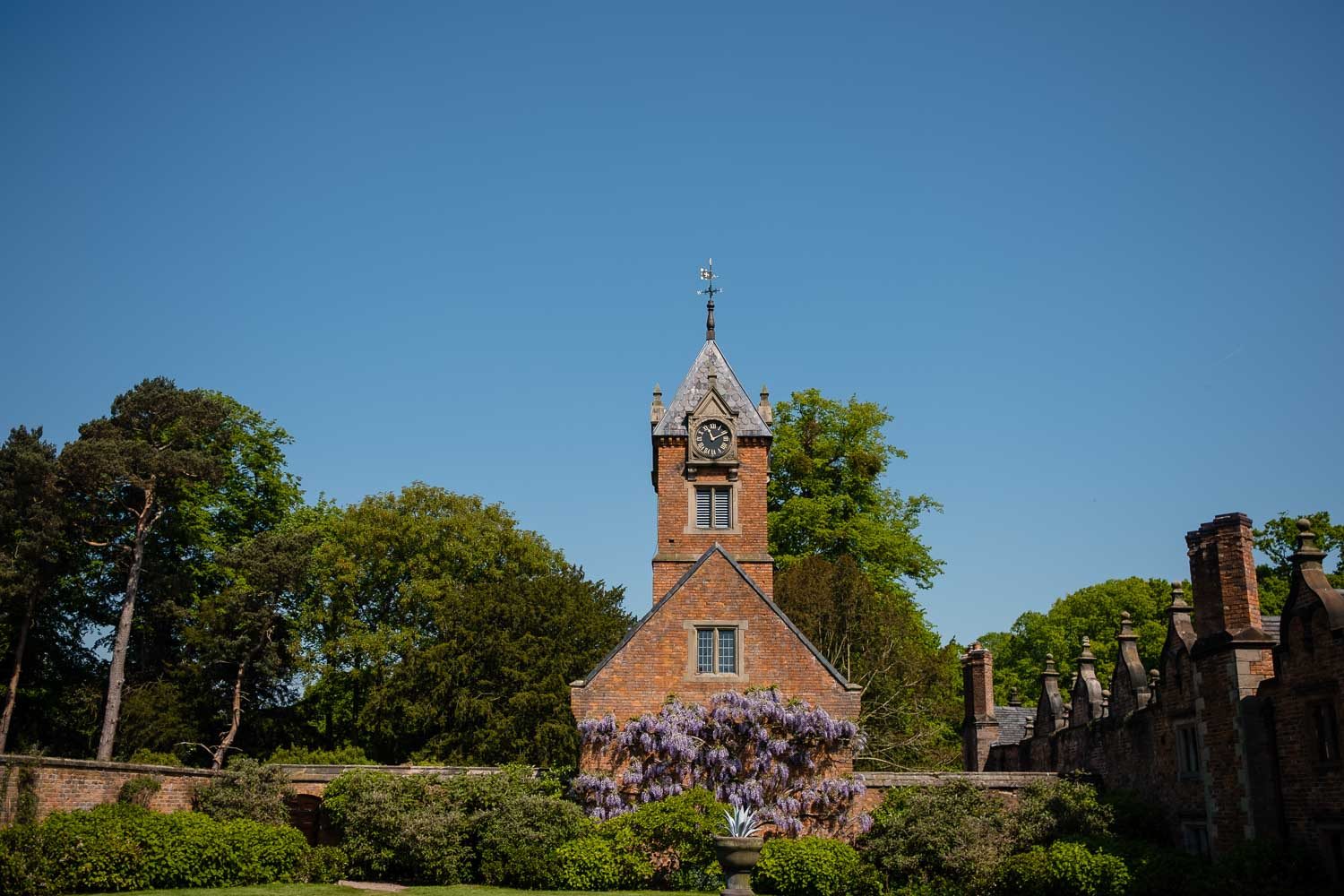 clock tower at dorfold hall