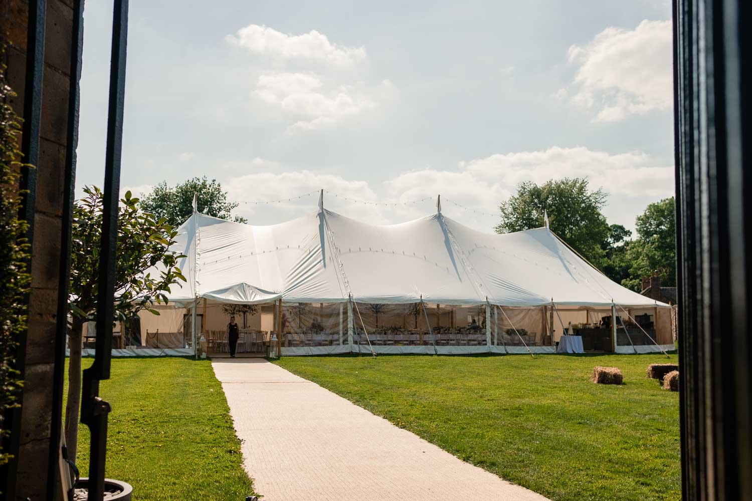outside shot of the marquee at dorfold hall