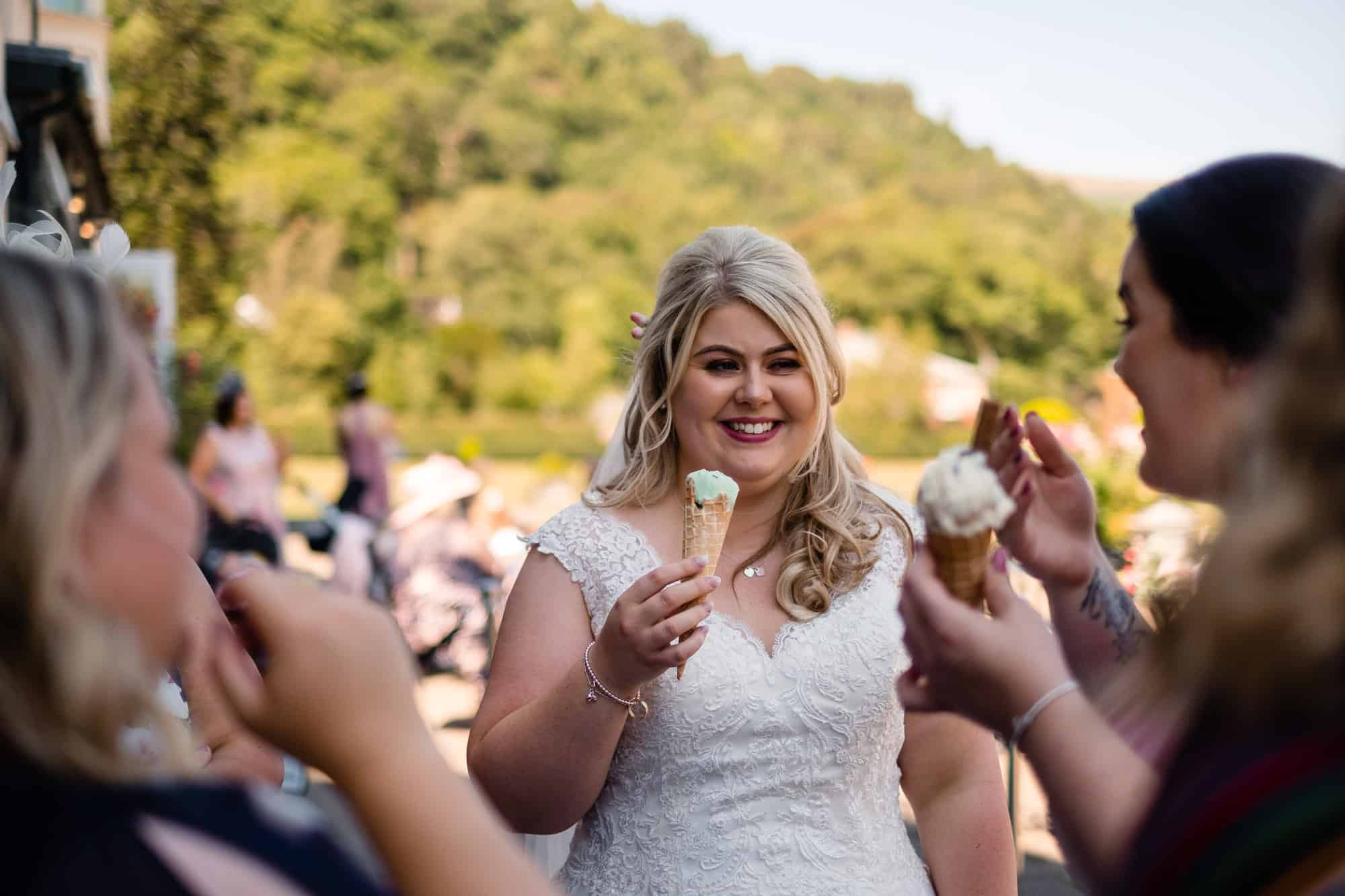 bride eating icecream