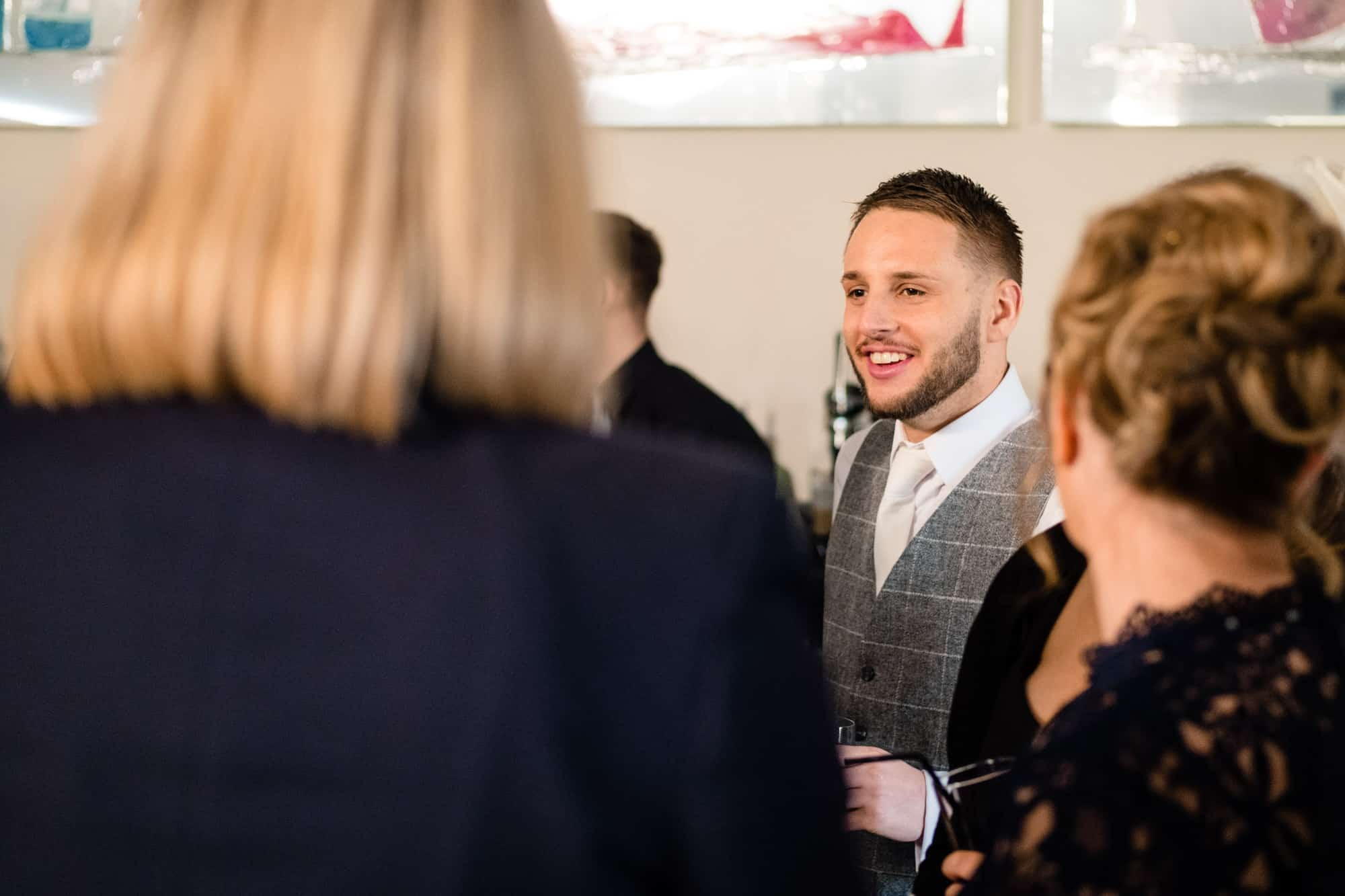 groom talking to guests at the saddleworth hotel