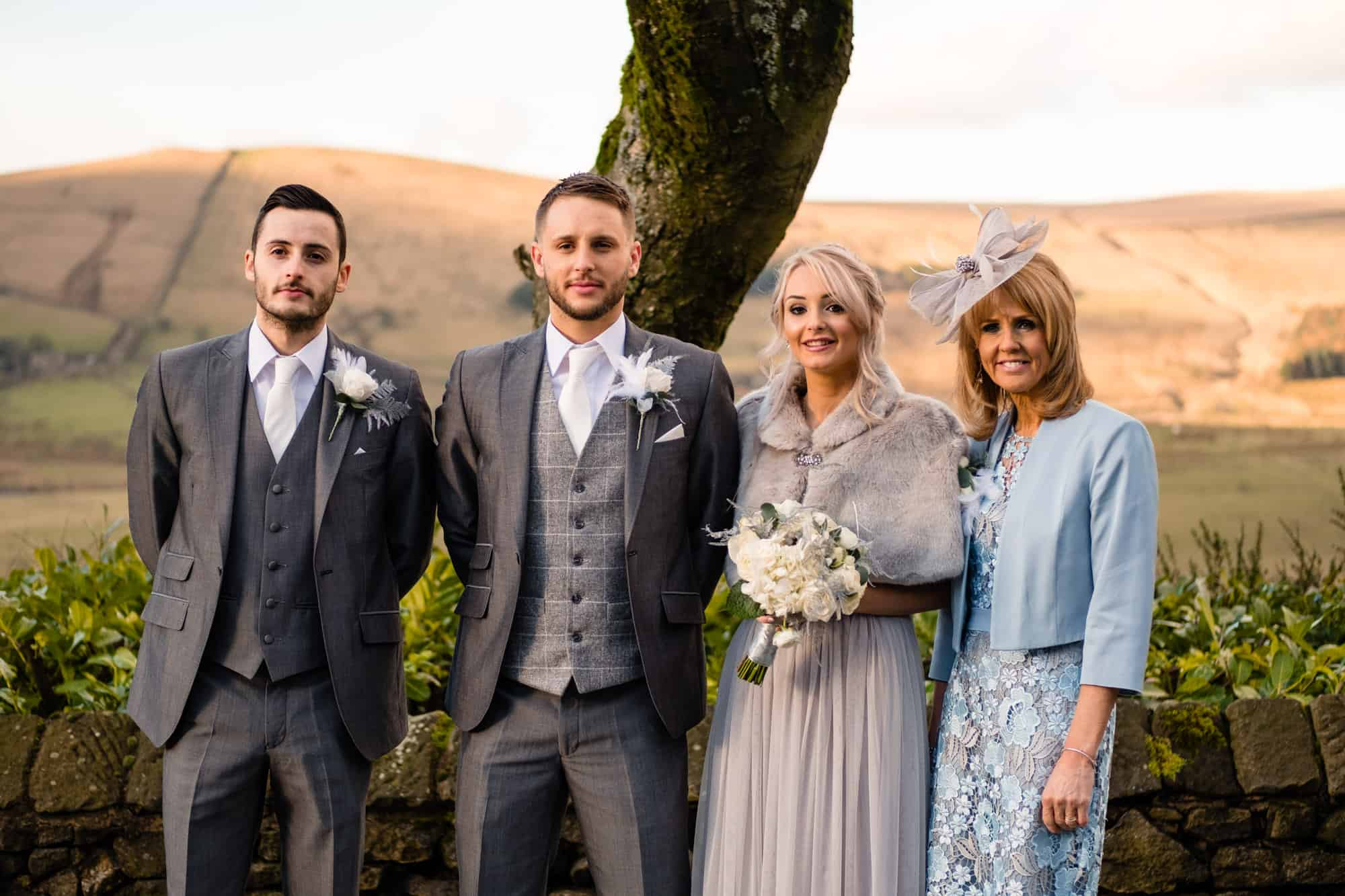 family portrait in the gardens at the saddleworth hotel