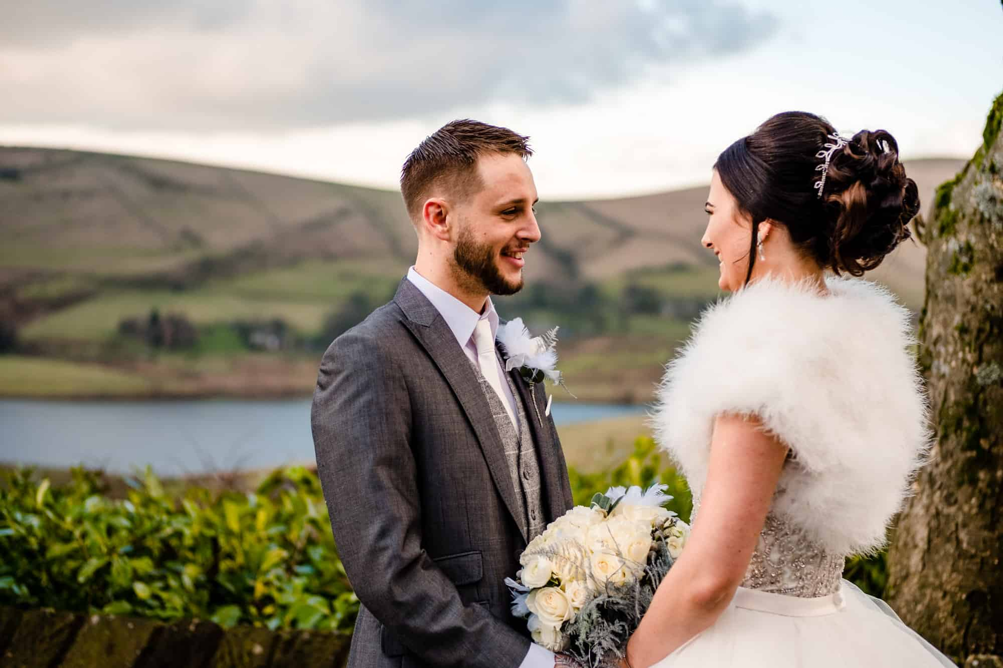 caouple portrait in the gardens, saddleworth hotel wedding photography