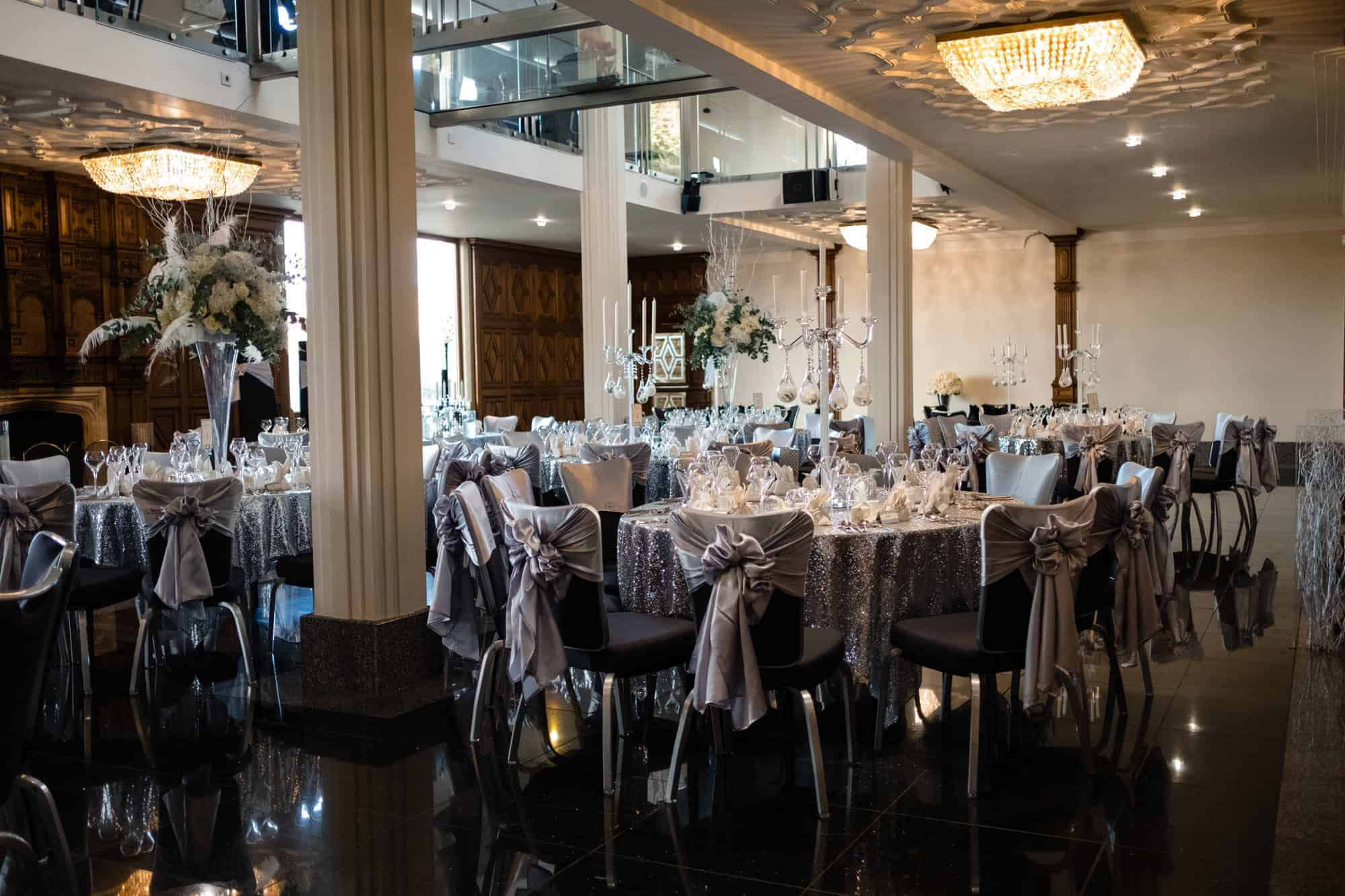 wide view of the ballroom at the saddleworth hotel