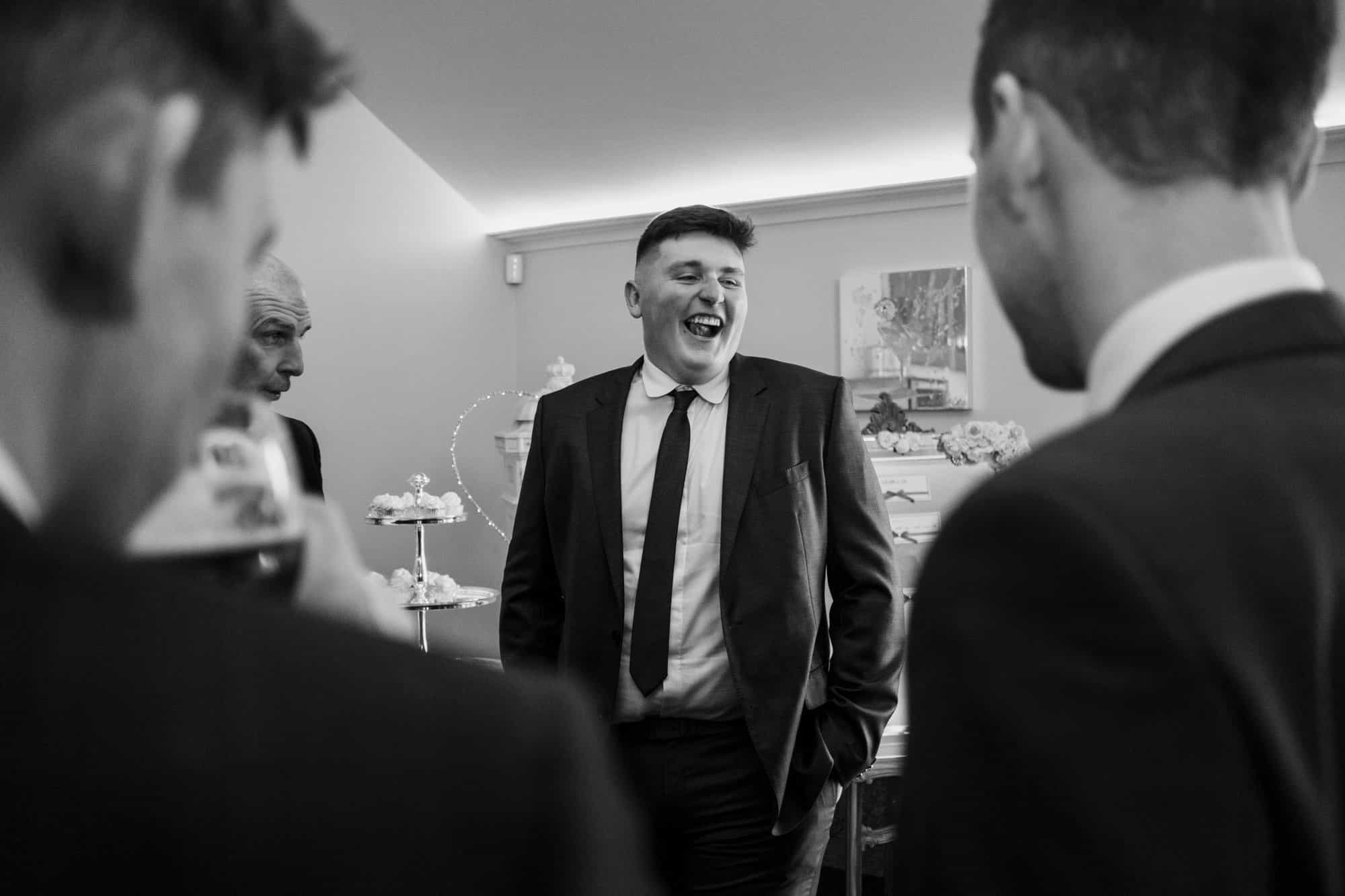 black and white photo of wedding guest