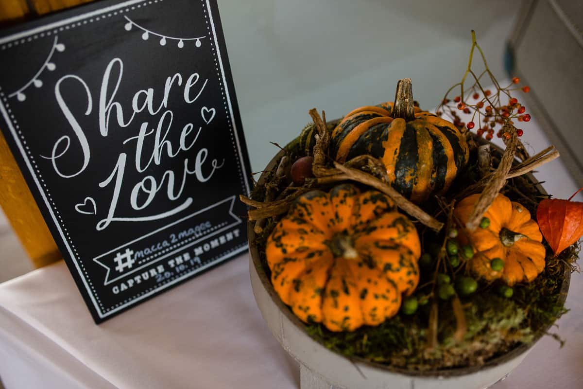 share the love sign and bowl of pumpkins