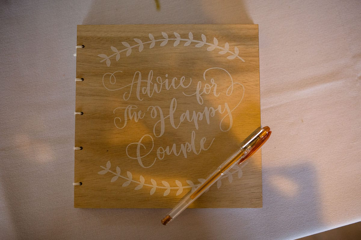 wedding guest book and pen
