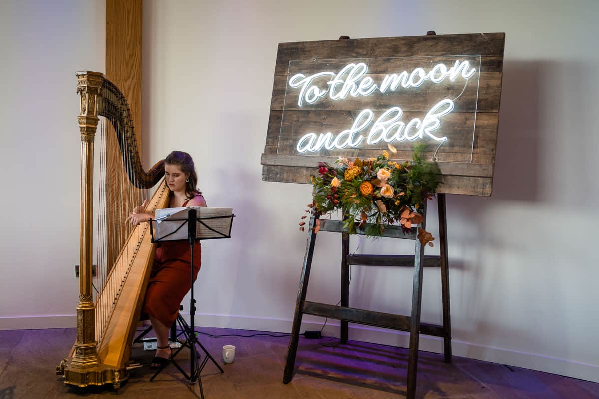 harpist playing at the back of the ceremony room