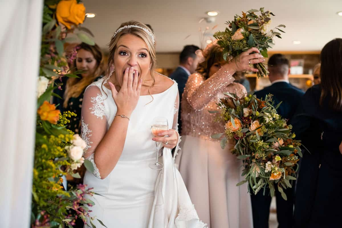 brides reaction to seeing the room set up for the first time