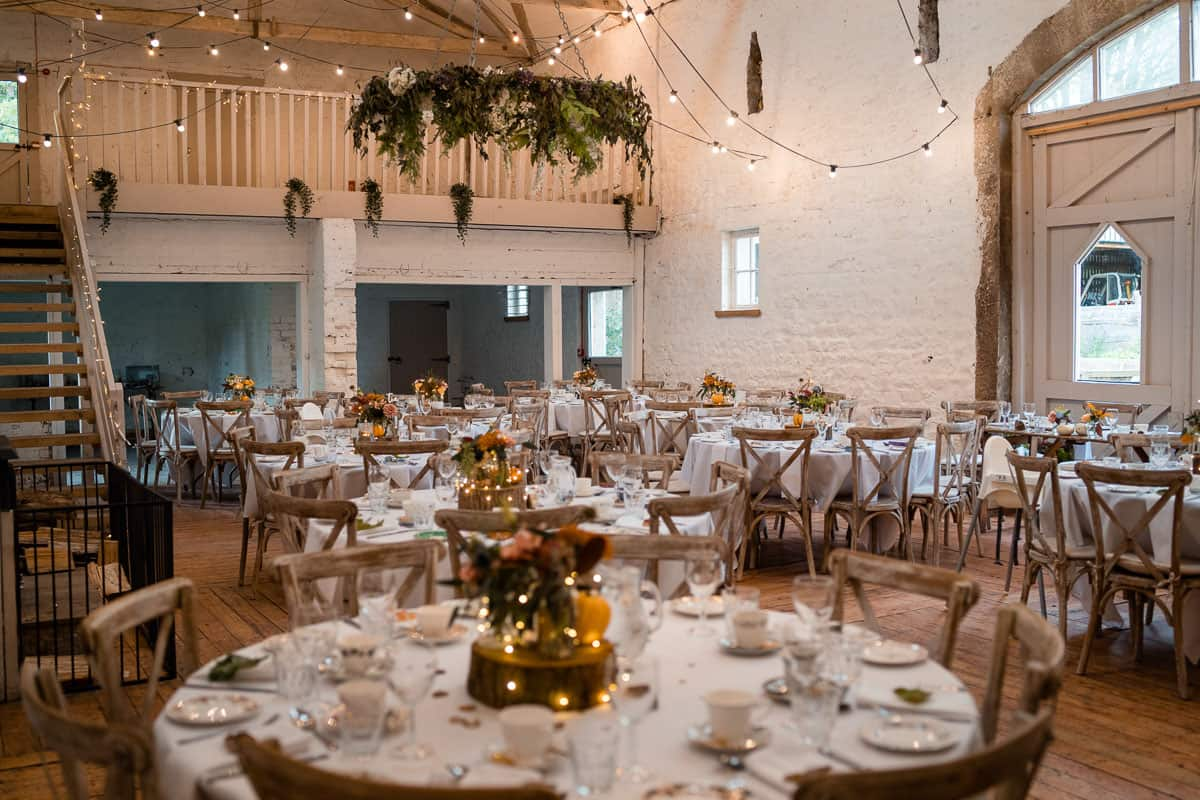 Wyresdale Park wedding barn room wide view