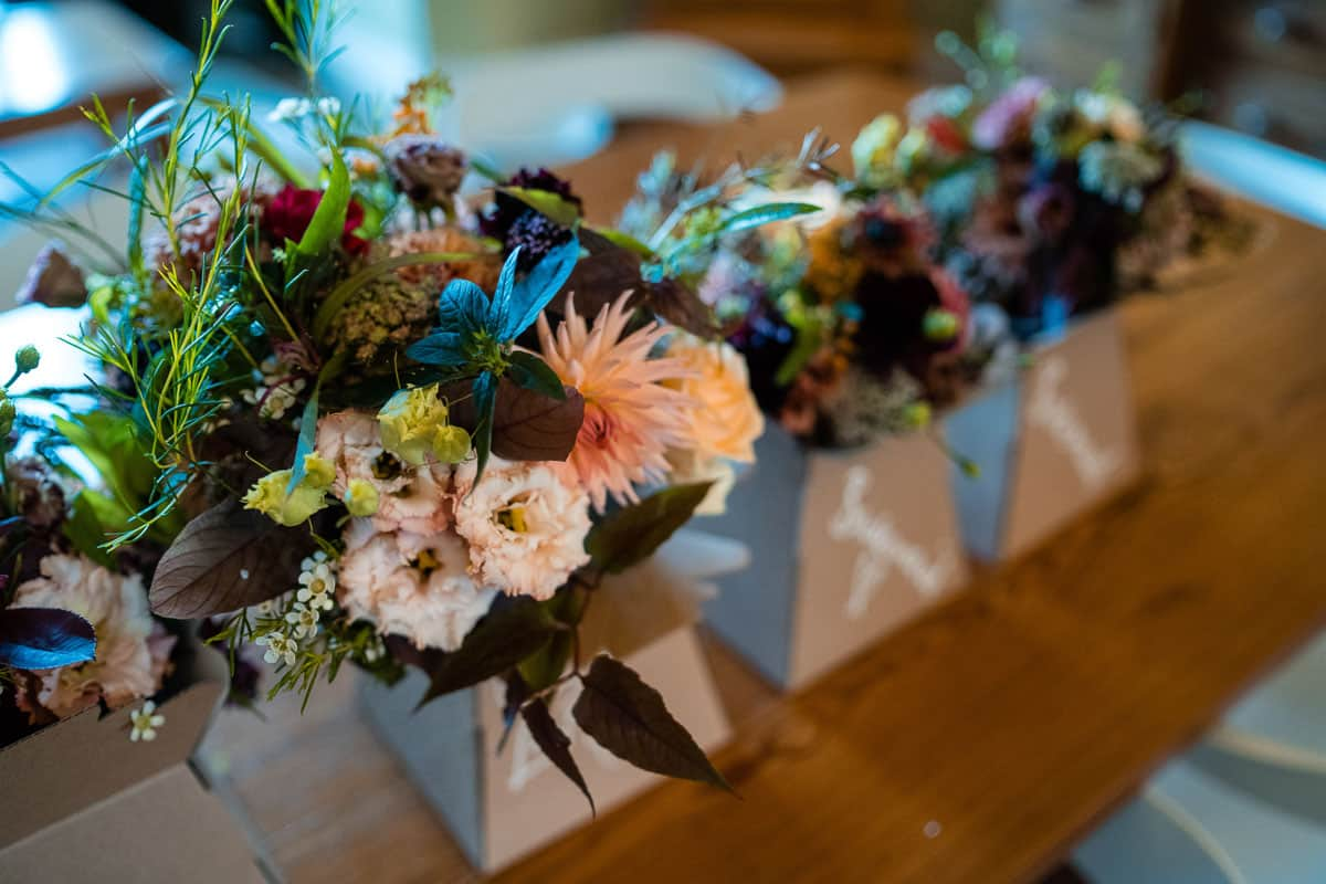 bridal bouquet on rustic kitchen table