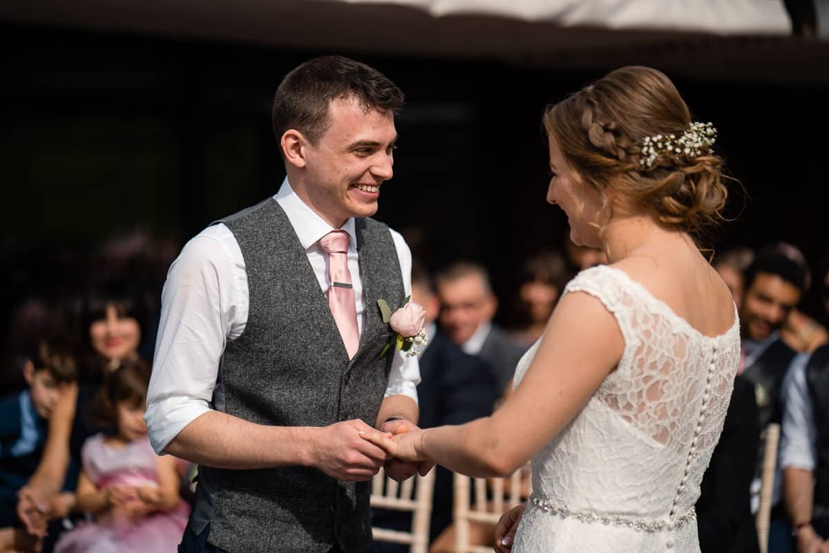couple smiling after being married